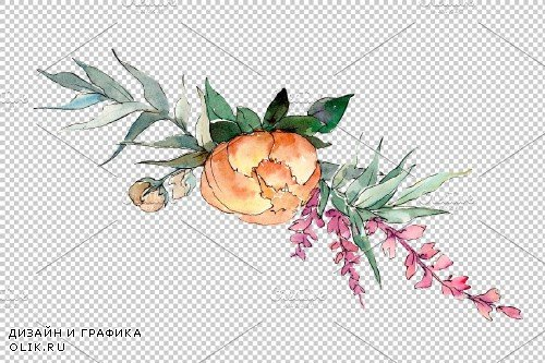 Bouquet Sunny mood watercolor png - 3950859