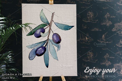 Olive branch green watercolor PNG - 3953541