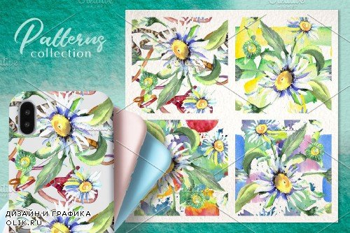 Daisy flower green watercolor png - 3954102