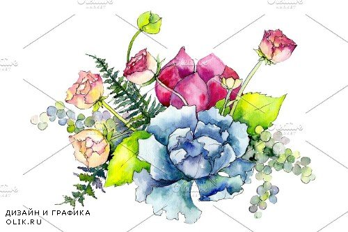 Bouquet Summer miracle watercolor - 3958788