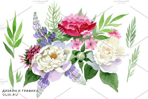 Bouquet Carnival of love watercolor - 3958252
