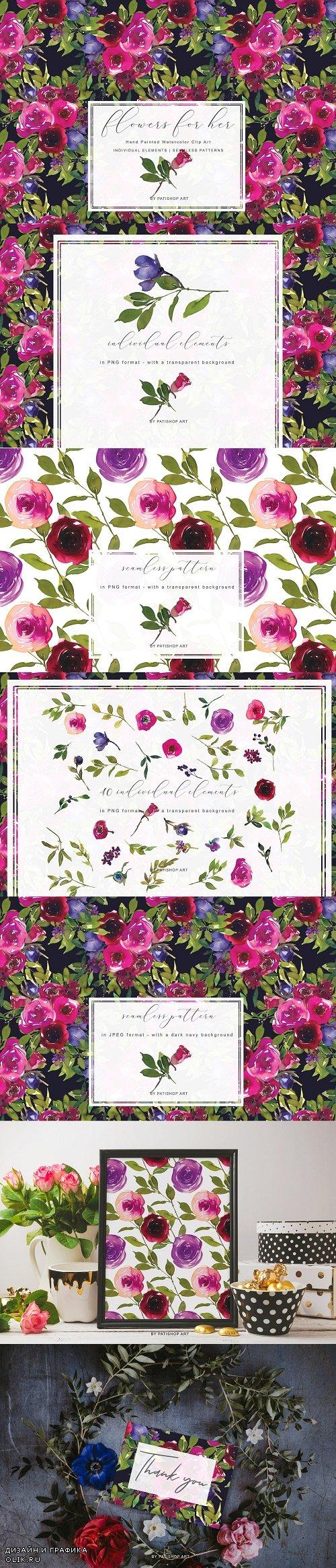 Magenta Watercolor Floral Clipart - 3961886