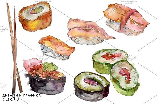 Sushi set Watercolor png - 3966708