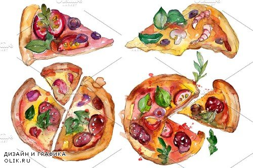 Appetizing pizza watercolor png - 3959088