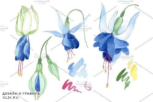 Fuchsia blue watercolor png - 3958858