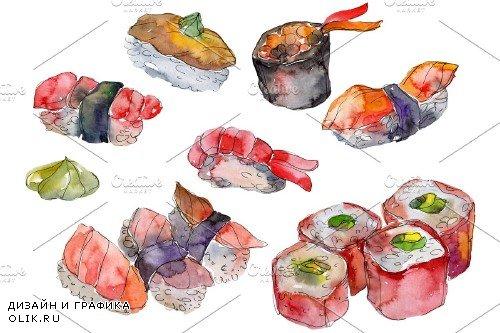 Sushi set Felix watercolor png - 3967706