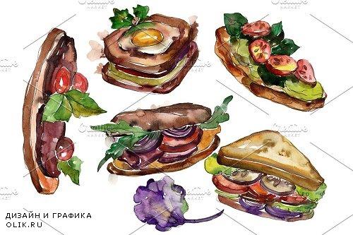 Mega sandwich watercolor png - 3966750