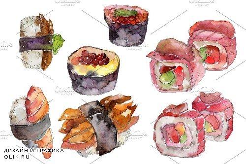 Japanese sushi watercolor png - 3967536