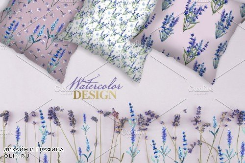 Watercolor lavender PNG JPG set - 3974558