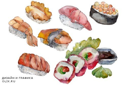 Sushi set philadelphia watercolor - 3967597