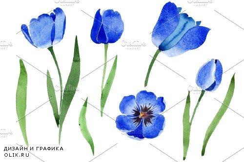Blue tulip flower watercolor png - 3983984