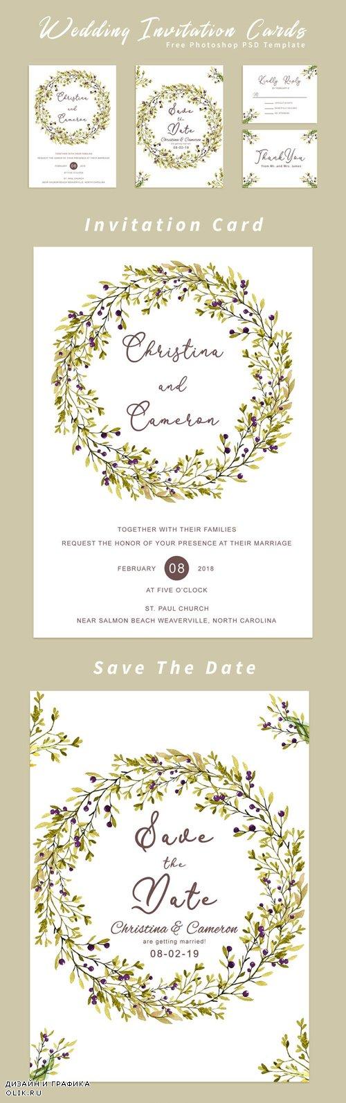Wedding Invitation Cards - PSD Template