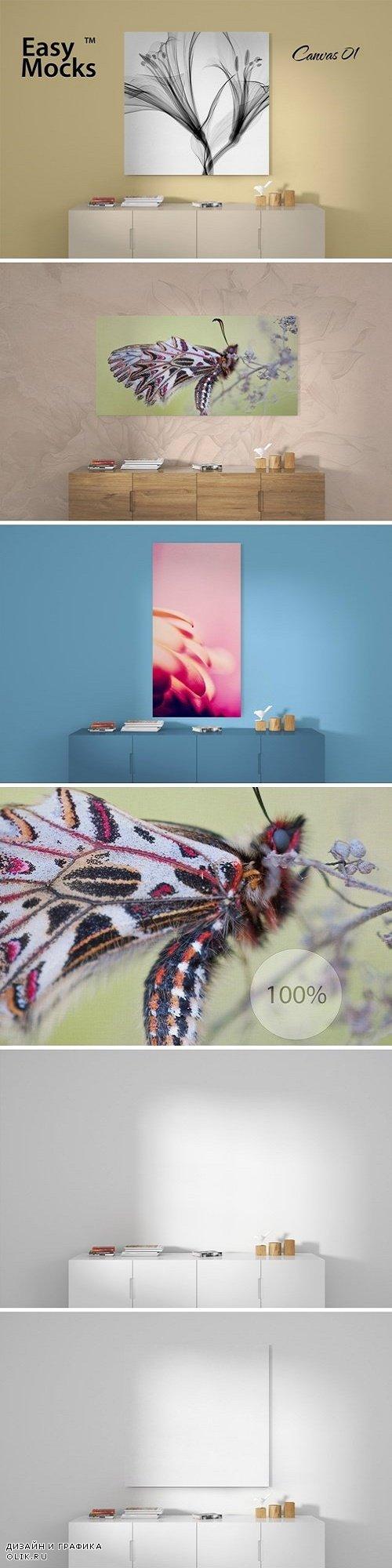 Canvas and wall mockup - 3990549