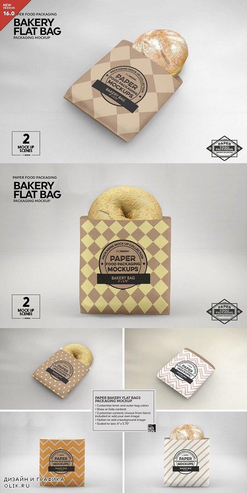 Flat Bakery Bags Packaging Mockup - 3916865