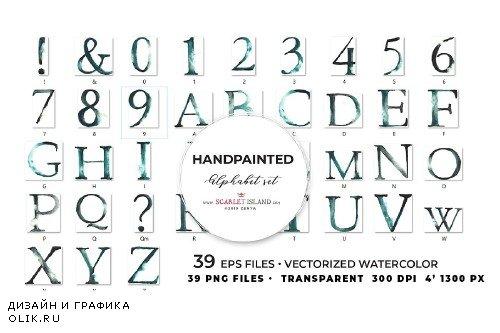 Watercolour Alphabet Grey I - 3991451