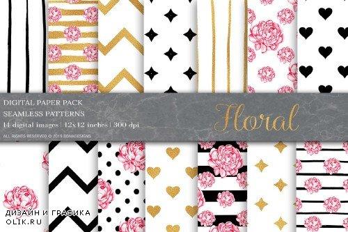 Gold Black Floral Digital Papers - 3990507