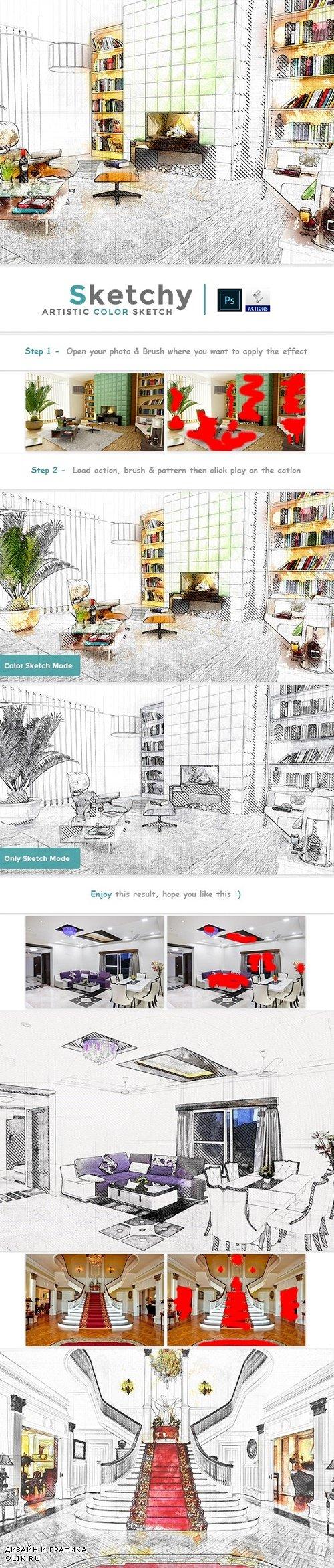 Sketchy - Artistic Color Sketch PS Action 24185668