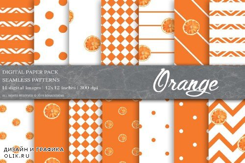 Summer Digital Paper, Orange Pattern - 4000712