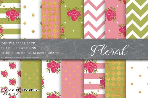 Floral Shabby Chic Digital Papers - 4003924