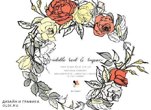 Hand-Sketched Floral Clipart Set - 4007829