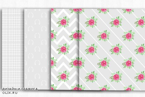 Floral Shabby Chic Digital Papers - 4002056