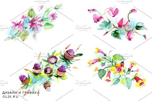 Bilbao flower bouquet watercolor png - 3996913