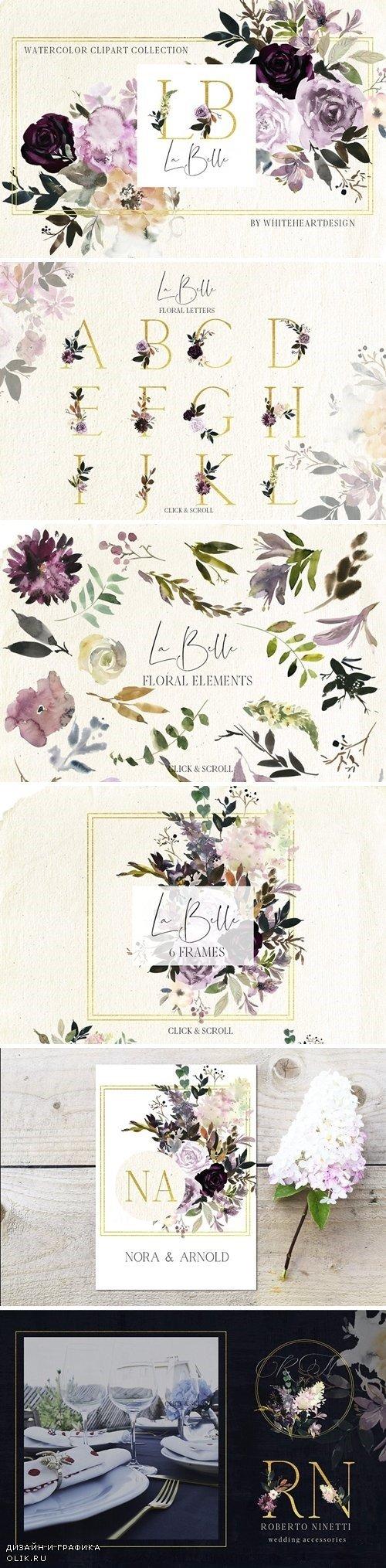 La Belle Watercolor Floral Clipart - 2876711