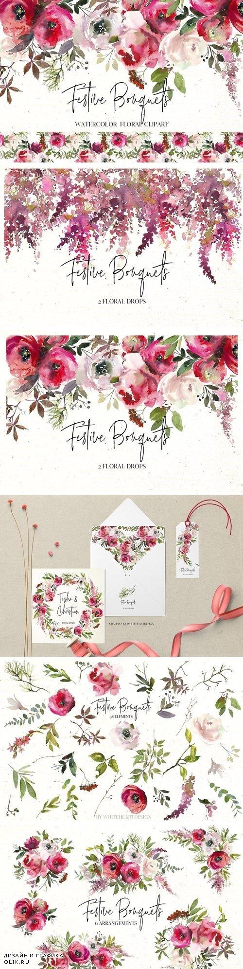 Festive Bouquets Watercolor Flowers - 3004799