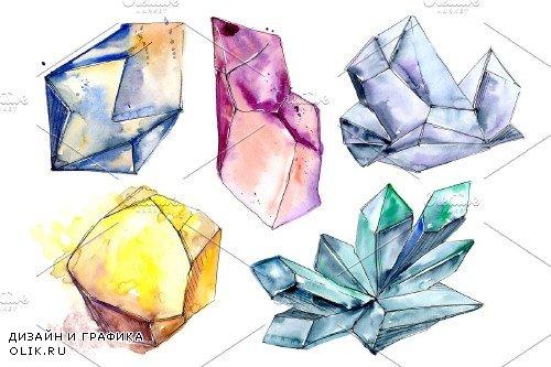 Precious crystals watercolor png - 4027478
