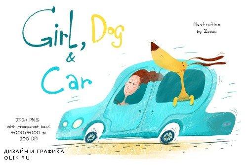 Girl, Dog and Car - illustration - 4024178