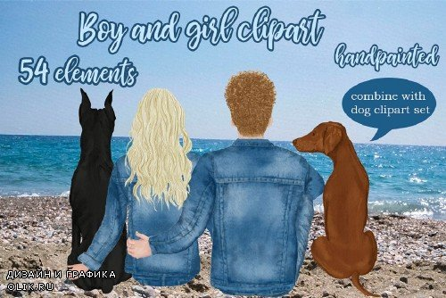 Couples Clipart, Custom Boy and Girl - 4020246