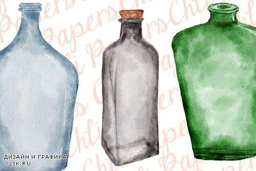 Watercolor Bottles, Bottles clipart - 4026017
