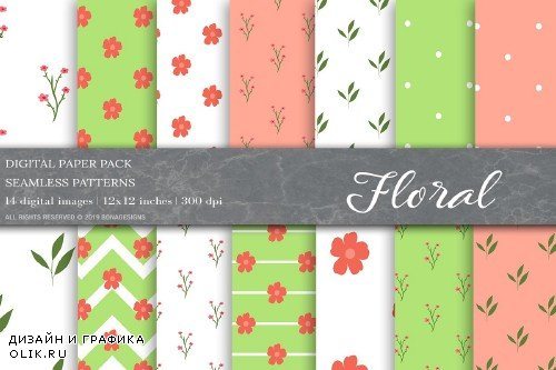Floral Digital Papers, Floral Patterns - 4025340