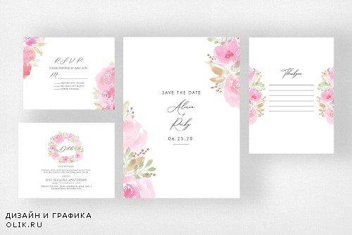 Watercolor Floral Wedding Suite - 3999842