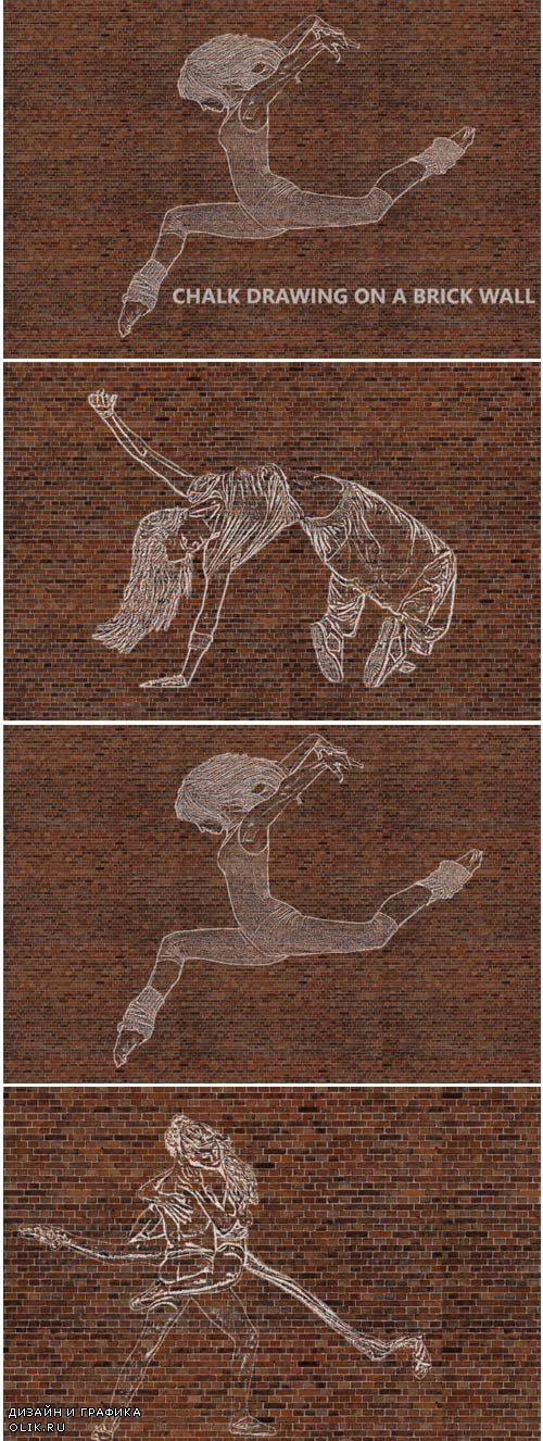 Chalk Drawing on Brick Wall - Ps Action 1760741 3767761