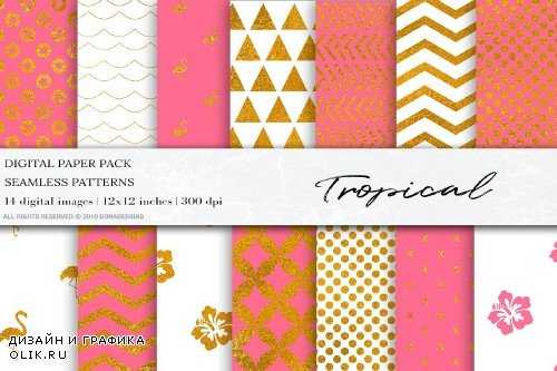 Gold Pink Seamless Patterns - 4095895