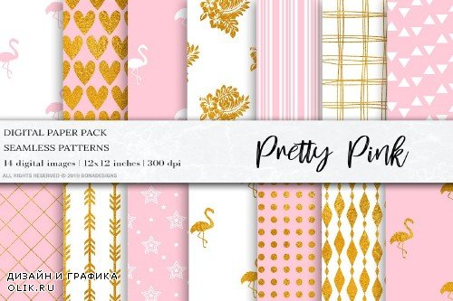 Pretty Pink Gold Digital Papers - 4100812