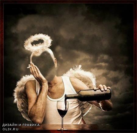 Фотошаблон для фотомонтажа - Ангел с вином