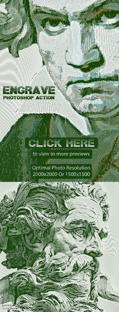 Engrave Photoshop Action 24422681
