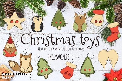 Christmas toys Hand drawn set - 1990638