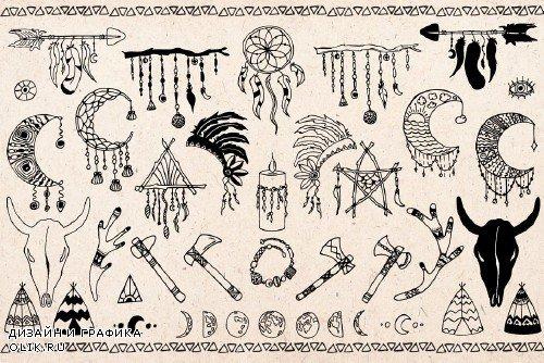 Hand drawn Boho doodles - 1447143