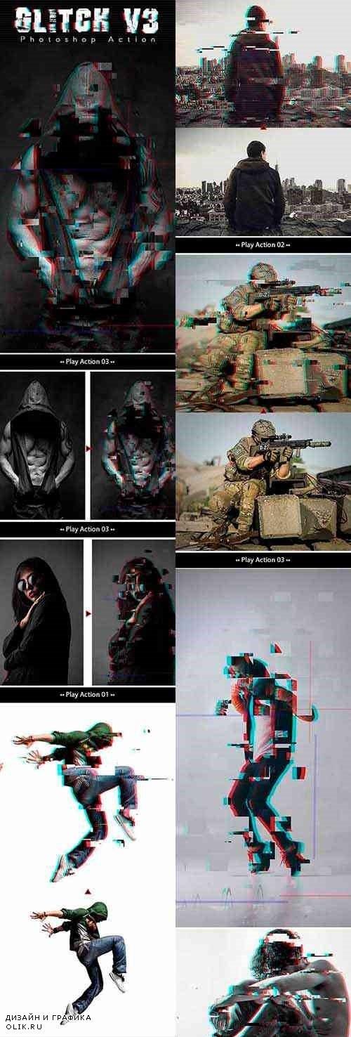 Glitch V3 Photoshop Action 24469094