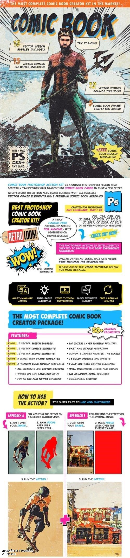 Retro Comic Book Photoshop Action Kit 24379894