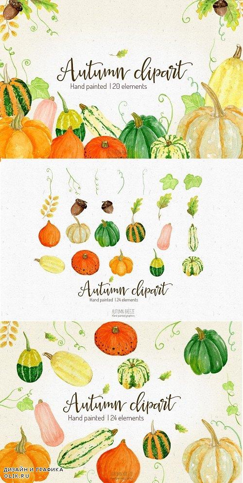 Watercolor Pumpkin Clipart - 2950497