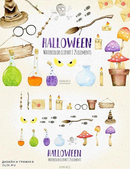Halloween watercolor clipart - 2906290