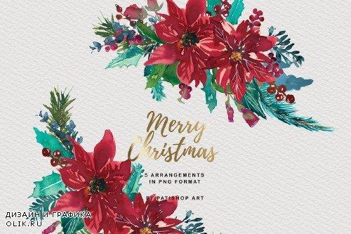 Watercolor Christmas Clipart Set - 4152571