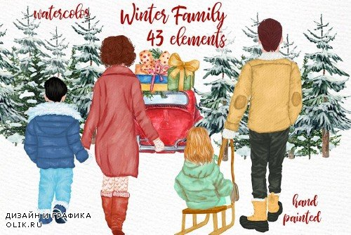 Winter Family Christmas Clipart - 4150842