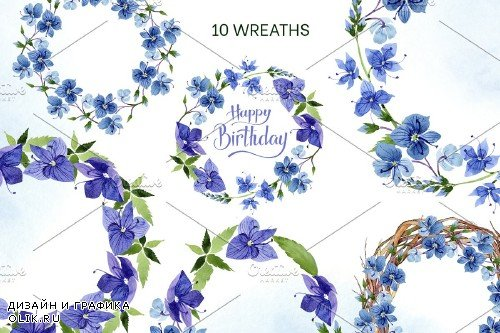 Veronica flower blue watercolor png - 4160562