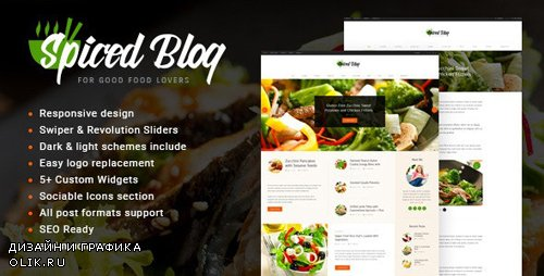 ThemeForest - Spiced Blog v1.5.4 - A Crisp Recipes & Food Personal Page WordPress Theme - 13264455