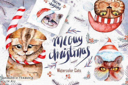 Meowy Christmas Watercolor SET - 4164155